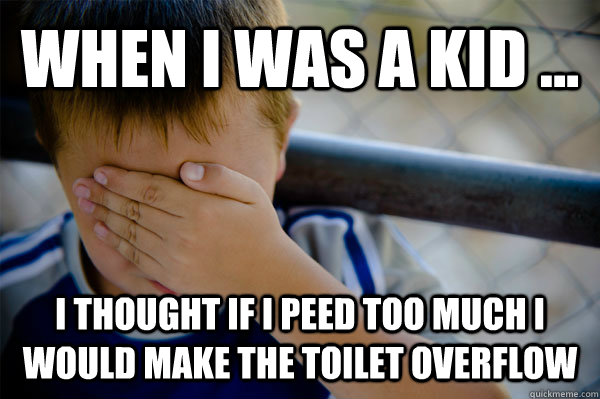 WHEN I WAS A KID ... I thought if I peed too much I would make the toilet overflow