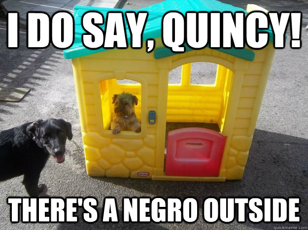 I do say, quincy! There's a negro outside  Upper Class White Dog