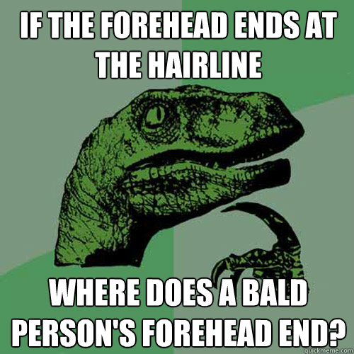 If the forehead ends at the hairline Where does a bald person's forehead end? - If the forehead ends at the hairline Where does a bald person's forehead end?  Philosoraptor