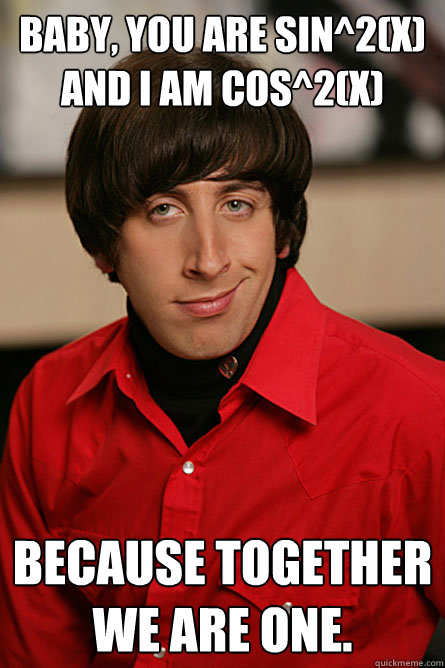 Baby, You are Sin^2(X) and I am Cos^2(x) Because together we are one.  Pickup Line Scientist