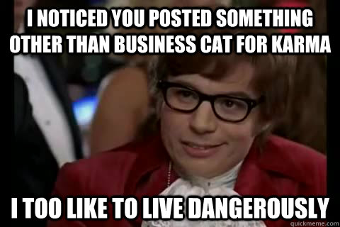 I noticed you posted something other than business cat for karma i too like to live dangerously - I noticed you posted something other than business cat for karma i too like to live dangerously  Dangerously - Austin Powers