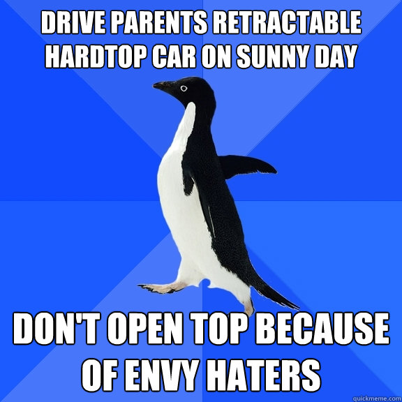 drive parents retractable hardtop car on sunny day don't open top