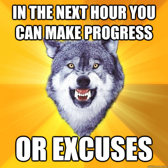 in the next hour you can make progress or excuses - in the next hour you can make progress or excuses  Courage Wolf