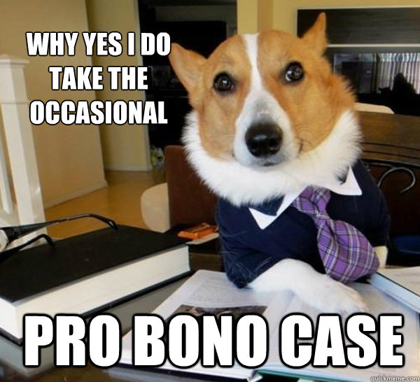 why yes i do take the occasional pro bono case - why yes i do take the occasional pro bono case  Lawyer Dog