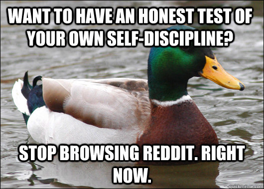 Want to have an honest test of your own self-discipline? Stop browsing reddit. Right now. - Want to have an honest test of your own self-discipline? Stop browsing reddit. Right now.  Actual Advice Mallard