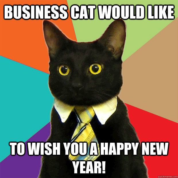 business cat would like to wish you a happy new year
