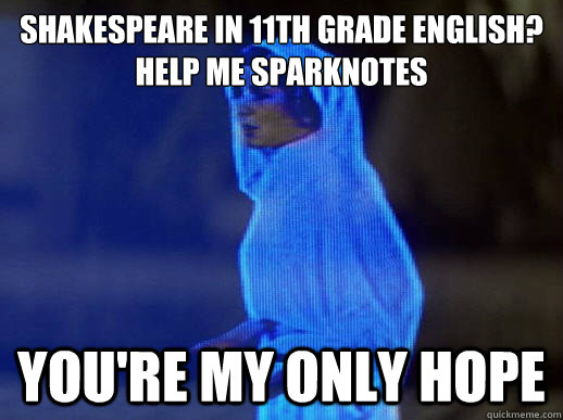 Shakespeare in 11th grade English? Help me Sparknotes you're my only hope - Shakespeare in 11th grade English? Help me Sparknotes you're my only hope  help me obi-wan kenobi