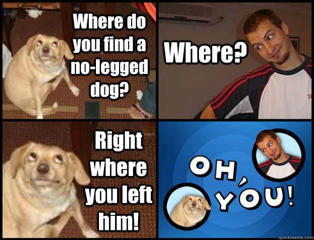 Where do you find a no-legged dog? Where? Right where you left him! - Where do you find a no-legged dog? Where? Right where you left him!  Oh you!