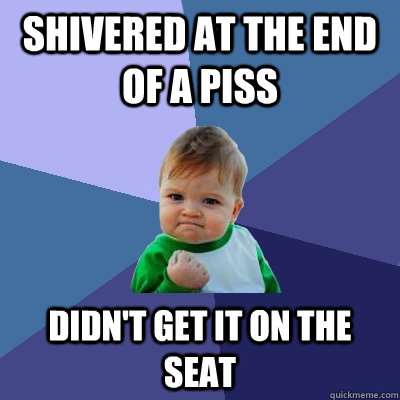 Shivered at the end of a piss didn't get it on the seat - Shivered at the end of a piss didn't get it on the seat  Success Kid