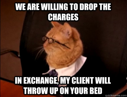 We are willing to drop the charges In exchange, my client will throw up on your bed