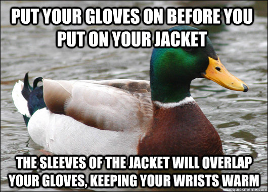 Put your gloves on before you put on your jacket The sleeves of the jacket will overlap your gloves, keeping your wrists warm - Put your gloves on before you put on your jacket The sleeves of the jacket will overlap your gloves, keeping your wrists warm  Actual Advice Mallard