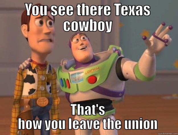 YOU SEE THERE TEXAS COWBOY THAT'S HOW YOU LEAVE THE UNION Toy Story
