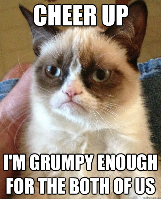 939f9fabdee6860eed2d2c0d94207578e21f00d061c45b3df33360e00cb4add3 cheer up i'm grumpy enough for the both of us grumpy cat quickmeme,Cheer Up Meme