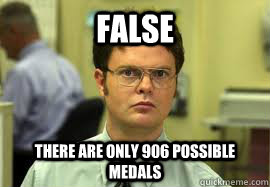 FALSE There are only 906 possible medals - FALSE There are only 906 possible medals  Dwight False