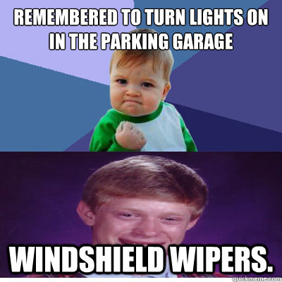 Remembered to turn lights on in the parking garage Windshield Wipers.
