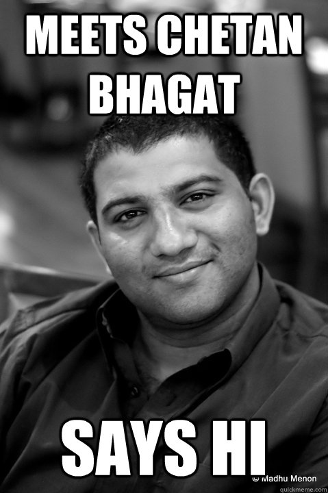 Meets Chetan Bhagat Says Hi