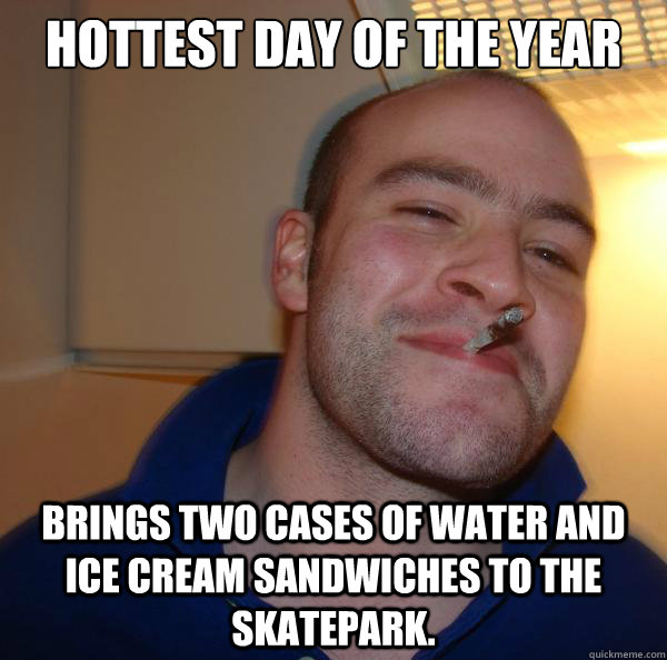 hottest day of the year brings two cases of water and ice cream sandwiches to the skatepark. - hottest day of the year brings two cases of water and ice cream sandwiches to the skatepark.  Misc