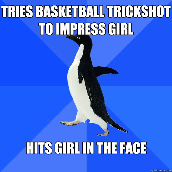 tries basketball trickshot to impress girl hits girl in the face - tries basketball trickshot to impress girl hits girl in the face  Misc