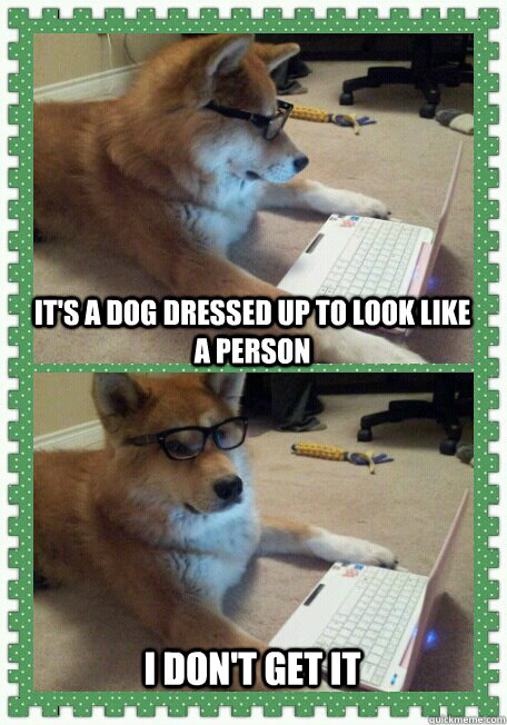 It's a dog dressed up to look like a person  I don't get it