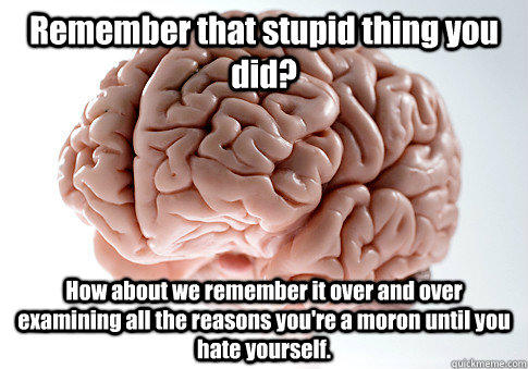 Remember that stupid thing you did? How about we remember it over and over examining all the reasons you're a moron until you hate yourself.  - Remember that stupid thing you did? How about we remember it over and over examining all the reasons you're a moron until you hate yourself.   Scumbag Brain