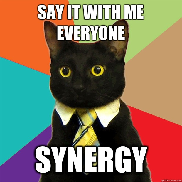 Say it with me everyone Synergy - Say it with me everyone Synergy  Business Cat