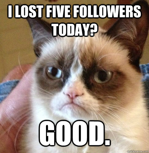 I lost five followers today? Good.  Happy Birthday Angry Cat