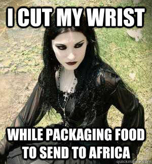 I cut my wrist while packaging food to send to africa