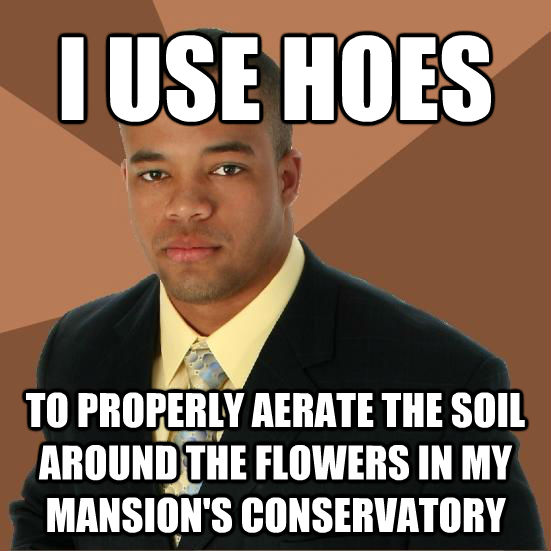 I USE HOES TO PROPERLY AERATE THE SOIL AROUND THE FLOWERS IN MY MANSION'S CONSERVATORY - I USE HOES TO PROPERLY AERATE THE SOIL AROUND THE FLOWERS IN MY MANSION'S CONSERVATORY  Successful Black Man Meth