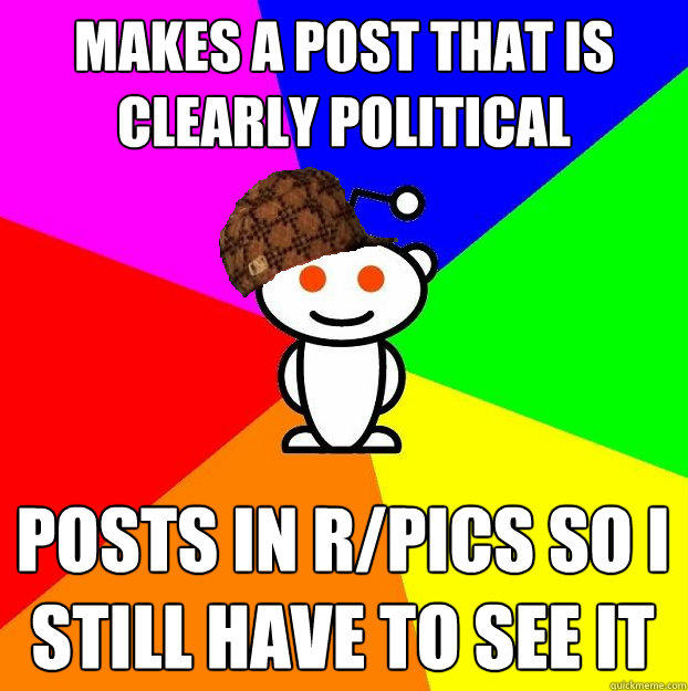 Makes a post that is clearly political Posts in r/pics so I still have to see it - Makes a post that is clearly political Posts in r/pics so I still have to see it  Scumbag Redditor