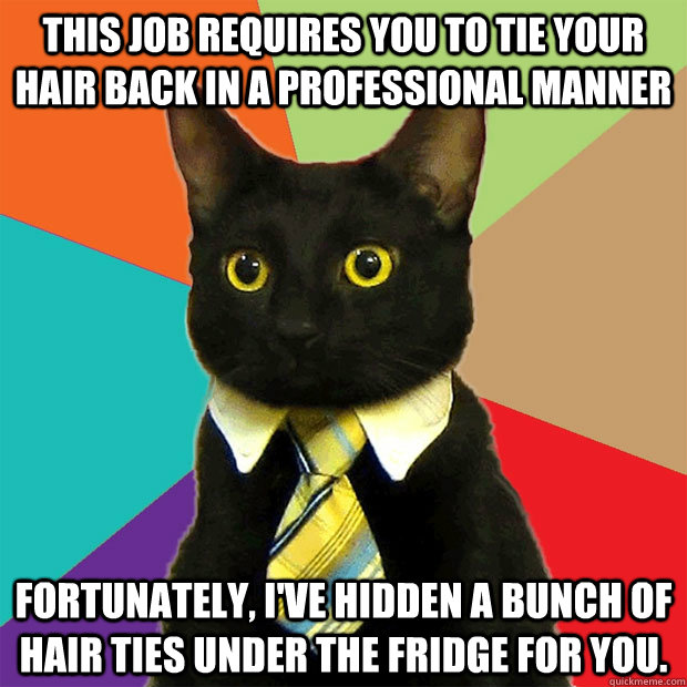 This job requires you to tie your hair back in a professional manner Fortunately, I've hidden a bunch of hair ties under the fridge for you. - This job requires you to tie your hair back in a professional manner Fortunately, I've hidden a bunch of hair ties under the fridge for you.  Business Cat