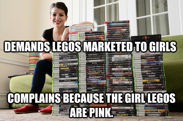 Demands Legos Marketed to girls Complains because the girl legos are pink.