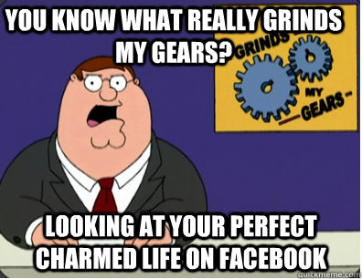 you know what really grinds my gears? looking at your perfect charmed life on facebook - you know what really grinds my gears? looking at your perfect charmed life on facebook  Grinds my gears