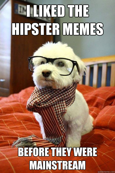 I liked the hipster memes before they were mainstream - I liked the hipster memes before they were mainstream  Hipster Dog