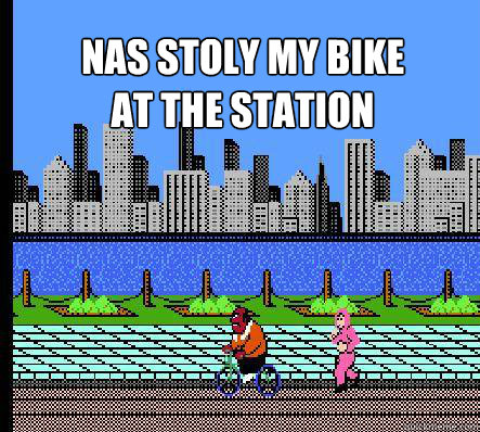 Nas stoly my bike at the station
