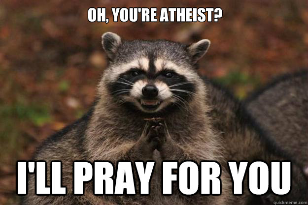 Oh, you're atheist? I'll pray for you - Oh, you're atheist? I'll pray for you  Evil Plotting Raccoon
