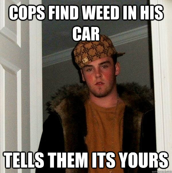 cops find weed in his car tells them its yours - cops find weed in his car tells them its yours  Scumbag Steve