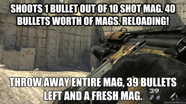 Shoots 1 bullet out of 10 shot mag. 40 bullets worth of mags. Reloading! Throw away entire mag, 39 bullets left and a fresh mag. - Shoots 1 bullet out of 10 shot mag. 40 bullets worth of mags. Reloading! Throw away entire mag, 39 bullets left and a fresh mag.  Misc