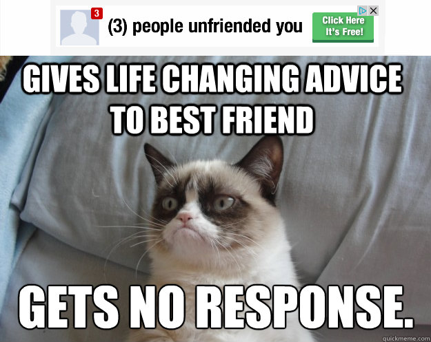 Gives life changing advice to best friend Gets no response. - Gives life changing advice to best friend Gets no response.  Grumpy Cat on Being Unfriended