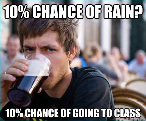 10% chance of rain? 10% chance of going to class - 10% chance of rain? 10% chance of going to class  Lazy College Senior