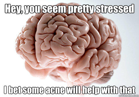 Hey, you seem pretty stressed I bet some acne will help with that  - Hey, you seem pretty stressed I bet some acne will help with that   Scumbag Brain