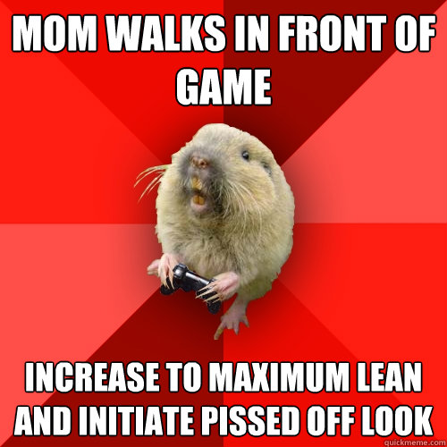 mom walks in front of game increase to maximum lean and initiate pissed off look - mom walks in front of game increase to maximum lean and initiate pissed off look  Gaming Gopher