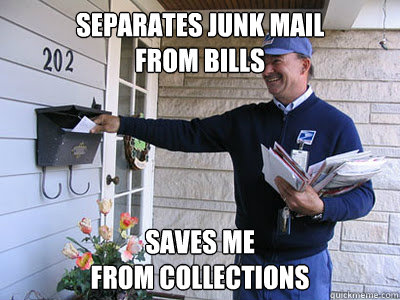 Separates junk mail  from bills saves me  from collections