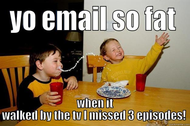 YO EMAIL SO FAT  WHEN IT WALKED BY THE TV I MISSED 3 EPISODES! yo mama is so fat