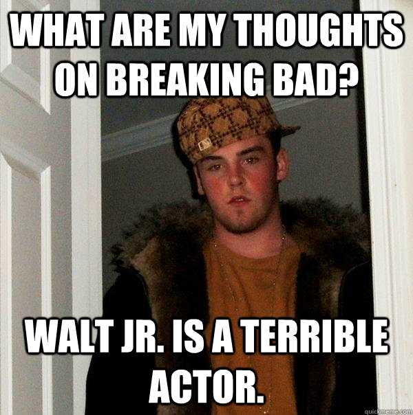 What are my thoughts on Breaking Bad? Walt Jr. is a terrible actor. - What are my thoughts on Breaking Bad? Walt Jr. is a terrible actor.  Scumbag Steve