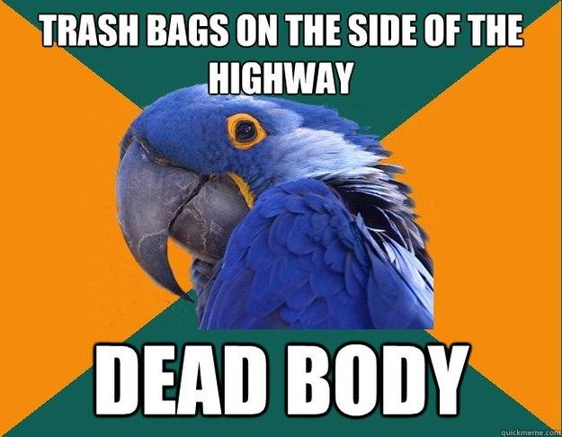 Trash bags on the side of the highway dead body - Trash bags on the side of the highway dead body  Paranoid Parrot