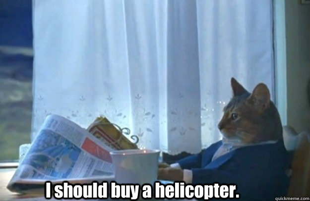I should buy a helicopter.
