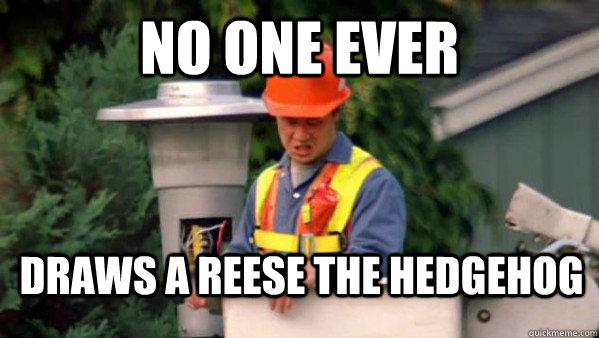 No one ever  Draws a reese the hedgehog