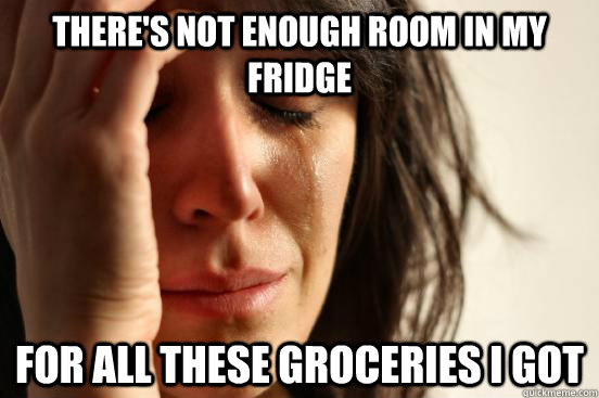 There's not enough room in my fridge for all these groceries I got - There's not enough room in my fridge for all these groceries I got  First World Problems