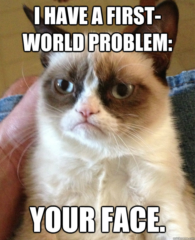 I have a first-world problem: your face. - I have a first-world problem: your face.  Grumpy Cat