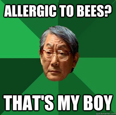 allergic to bees? that's my boy  High Expectations Asian Father
